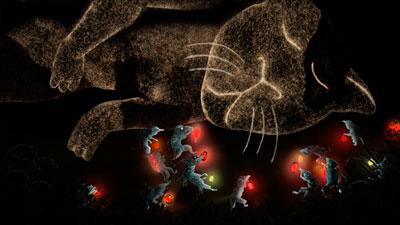 ドミトリー・ゲラー『ネコを埋葬するネズミを見た』